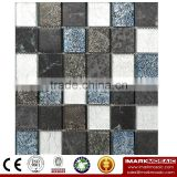IMARK Mixed Color Marble Mosaic Tiles with Gold Foil Glass Mosaic Tiles Code IXGM8-097