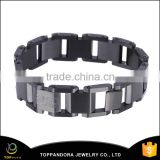 Hottest wholesale 316 stainless steel fashion charm bracelet for man, black color bracelet