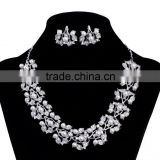 Wedding leave shaped cheap fake pearl necklace set for women, olive branch crystal jewelry sets