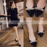 2016 bulk wholsale shoes sexy ladies flat shoes black dress shoes CP6918
