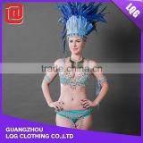The most popular royal blue feather crystal beaded handmade carnival costume