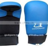 Zean Lining Elastic Strap Comfortable Punching Blue and Black Fine PU Leather Sport Gloves