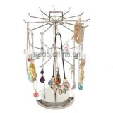 2-Tier Metal Rotating Jewelry Organizer Tower Necklace Tree Bracelet Display Stand