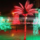 Home garden decorative 450cm Height outdoor artificial red flashing LED solar lighted up coconut palm trees EDS06 1404