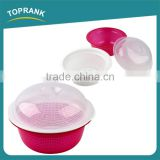 Multifunctional kitchen fruit vegetables wash bowl double-deck round plastic colander and bowl set
