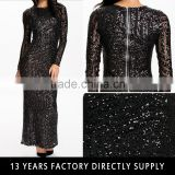 2016 Lady Black Sequin Maxi Elegant Long Sleeve Muslim Evening bandage dresses