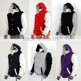 Plain Varsity Jacket Wholesale/Plain Baseball Jackets/Letterman Jackets With Hood