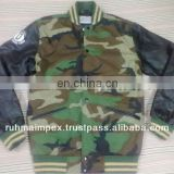 Camo jacket with leather sleeves