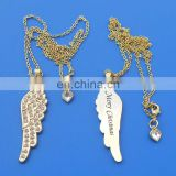 New Xmas Gifts Golden Rhinestone Wing Angle Christmas Necklace Pendant