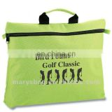 polyester documents bag with two loops on each end of zipper