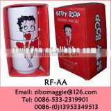 Stackable White Porcelain Promotional Wholesale Mugs with U Shape for Custom Tea Mug