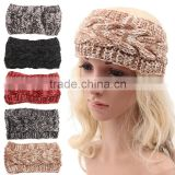 Wholesale Multi Colors Black Grey Red Beige Twisted Knitted Cotton Women Headband