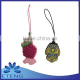Promotion custom design rubber keychain pendant with mobile phone strap