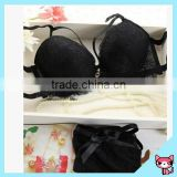 Black Embroidery Lace Wire Ladies Bra Set