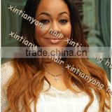 China manufacturers three tone colored, nautual wave, Malaysian virgin hair lace front wig
