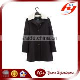 ladies fur collar plus size polyester and rayon jacquard loose black long coat and trench jacket