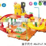kids build musical block train ABS electrical rail car toy with light music