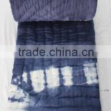 Hand Made Jaipuri Tie- Dye Razai Shibori Printed,Custom Design, Drop Shipping ,Indigo,Bed Cover Cotton Filling Quilt