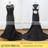 Real Works Sexy Sheer Lace Appliqued Black Net Evening Dress 2015
