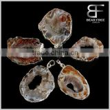 Natural Irregular Drusy Geode Agate Amethyst Quartz Cluster Gemstone Pendant Charms