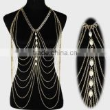 Wholesale alloy shoulder body chain , sexy pearl should body chain jewelry ,alloy metal body chain