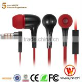 Wallytech Original WHF-129 Flat Cable In-Ear cheap Earphones Earbud With Mic & On/Off Button