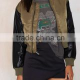 Wholesale Army green short baseball Jacket With leather sleeves