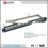 "LY-PP6A-02 CAT6A 24 PORT PATCH PANEL RACK MOUNT TUFF JACKS QUALITY! 19"" 1U STP Blank Patch Panel With back bar"