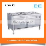 4 * GN 1/1 Stainless Steel Buffet Food Warmer Display With Cabinet