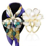 Decorative Scarf Pins Enamel Big Flower Ball White Pearl Brooches Clasp For Women Dress Jewelry Accessory