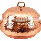 IndianArtVilla Steel Copper Big Casserole with Lid 2300 ML - Serving Indian Food Dishes Home Hotel Restaurant Tableware