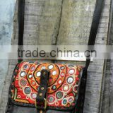 real leather vintage style leather shoulder bags with banjara fabrics