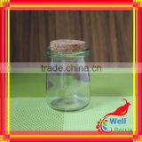 storage glass jar with tap with glass bottle with wood cap glass food 650ml storage container with cork wood lid for food