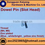 Dowel Pin with Slotting Head (for Furniture); Zinc plated (Blue , white/bright , yellow zinc finish ); M4, M6