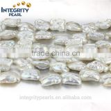 13mm baroque irregular biwa shape natural freshwater pearl string designs