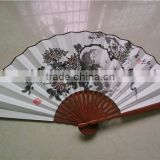 Chinese Bamboo Fan Big Fan! Autumn Flower designs! Vintage craft gifts!