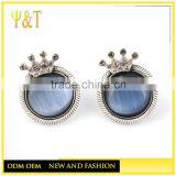 China factory 925 sterling silver natural fresh water pearl silver crown ball stud earrings for girls (AE-035)