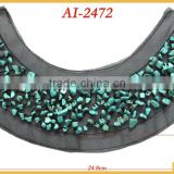 Ice blue color stones beaded applique AI-2472