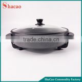 Black Non-Stick Skillet Electric Frying Pan Temperature Control With Glass Lid