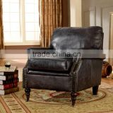 Top Quality Genuine Black Leather Living Room Single Sofa/American Style Leather Arm Chair