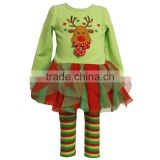2015 New Design Reindeer Tutu Dress + Stripe Pants Baby Christmas Clothes