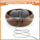 Knitting yarn bowl manufacturer hot wholesale wooden yarn holder bowl hand knitting home used wooden knitting bowl
