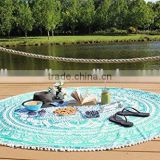 China Organic Velour Cotton Reactive Printed Design Custom Price Round Bath Blanket Beach Towel