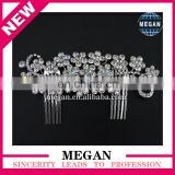 Charming New Design Flower Princess Wedding Hair Accessories Rhinestone Crown Comb For Bridal