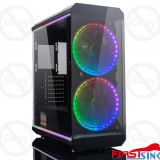 Firstsing Tempered Glass ATX Mid Tower PC Computer Gaming Case With RGB Fan