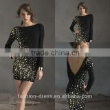 Latest Elegant Low V Back Black Long Sleeve Short Formal Cocktail Dress