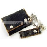 Distressed leather biker wallet with chain