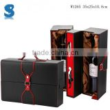 Nobel Person Enjoyable Spain Wooden Wine Gift Packaging Box Paris PU Leather Wine Case W1265