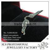 2015 best christmas gift cubic zirconia black plated 925 silver beautiful angel wings ring