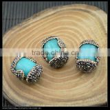 Wholesale LFD-0027B Druzy Malay Jade Stone Pave Rhinestone Crystal Connector Spacer Beads in Blue color Jewelry Making